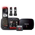 panasonic kx tgm430b plus 2 kx tgma44b with range extender and call blocker