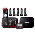 panasonic kx tgm430b plus 5 kx tgma44b with range extender and call blocker